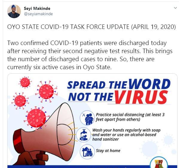 Two Coronavirus patients discharged in Oyo