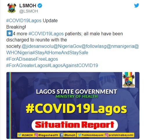 Lagos discharges four Coronavirus patients