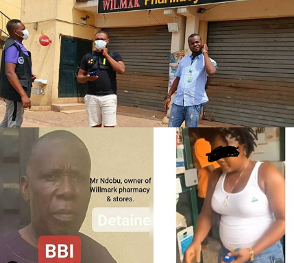 Owner of pharmacy where lady was beaten, stripped naked and filmed for stealing milk in Delta has been arrested (photos/video)