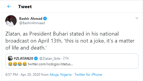 'This is not a joke' - Presidential aide, Bashir Ahmad cautions singer Zlatan for 'laughing' over the new cases of Coronavirus