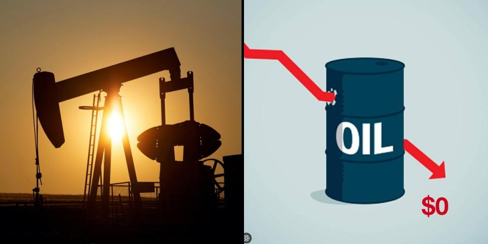 Oil price crashes below $0 a barrel