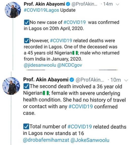 Two new COVID19 deaths recorded in Lagos