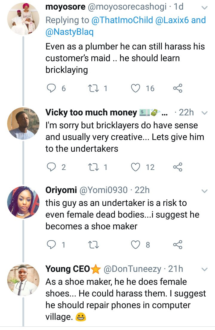 Savage Nigerians suggest alternative jobs for Instagram comedian,Nasty Blaq after he was accused of promoting rape in his latest skit