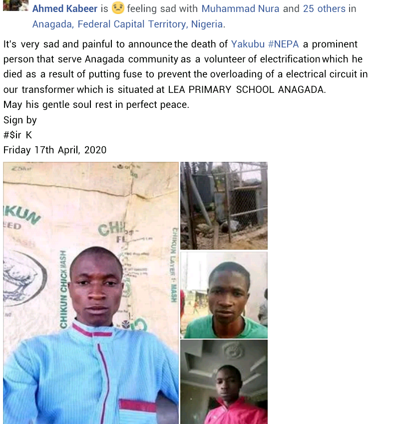 Man electrocuted in Abuja suburb while trying to fix faulty transformer fuse