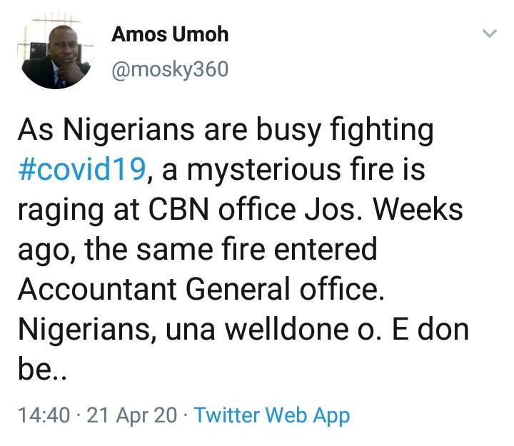 Fire guts CBN office in Jos; Twitter users react