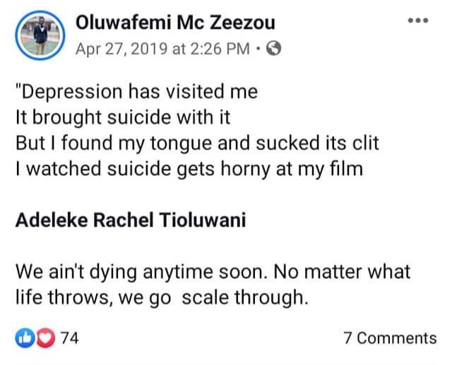 Nigerian Facebook user commits suicide months after writing about depression and suicide