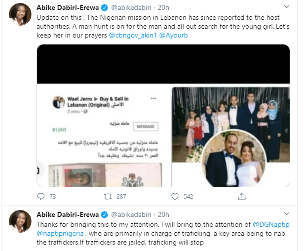 Nigerian mission in Lebanon has reported to the host authorities - Abike Dabiri reacts to report of Lebanese man putting up a Nigerian lady for sale