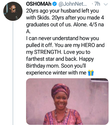 """20 years ago your husband left you with 5 kids, 20 years after you made 4 graduates out of us""- Nigerian man celebrates his mother on her birthday"