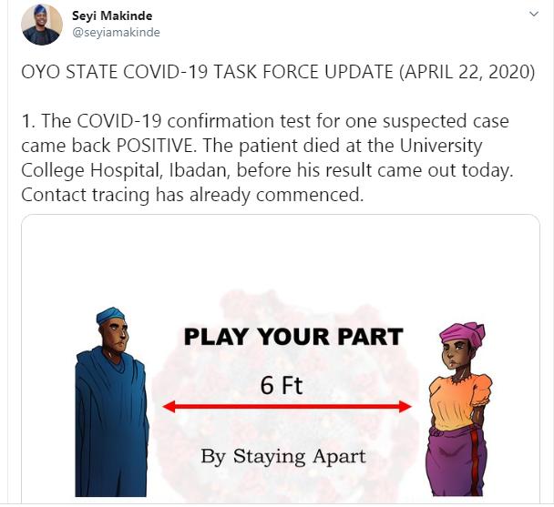 Oyo records first Coronavirus death