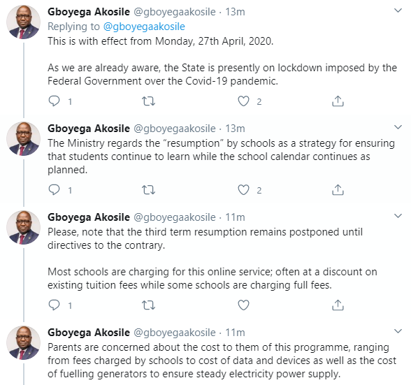 Lagos state government reacts to plans by some private schools to resume third term classes online