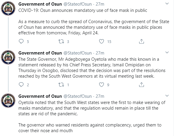 Osun state government announces mandatory use of face mask