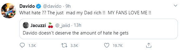 Davido explains the reason for the hate he gets