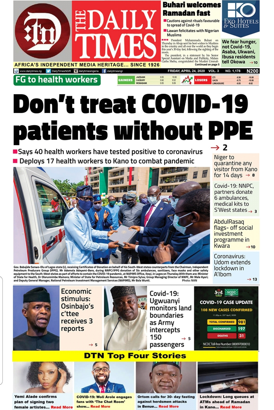 Daily Times Nigeria (DTN) Top four Stories...