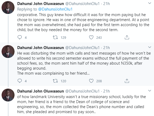 Twitter stories: Nigerian mum left in shock after discovering her son in a private university had been defrauding her by collecting double his tuition fee