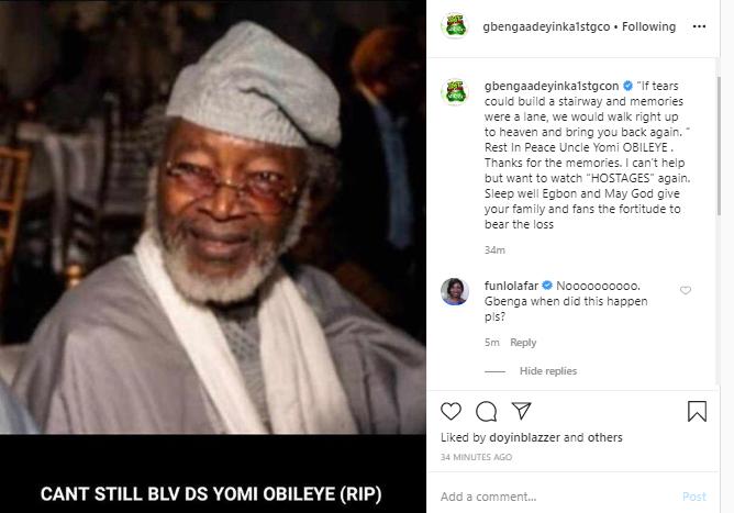 Veteran actor, Yomi Obileye has died