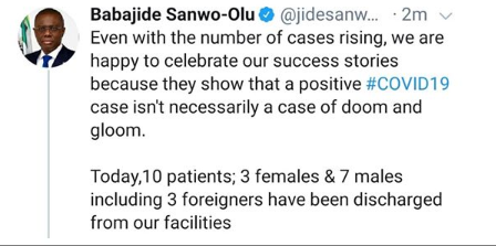 10 COVID-19 patients discharged in Lagos