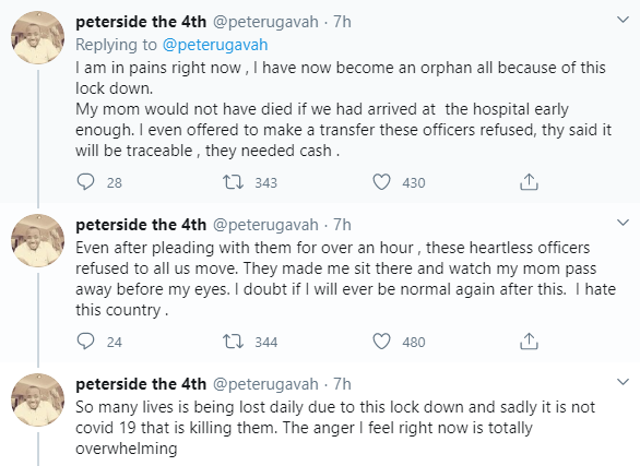Nigerian man whose mum died while being rushed to the hospital, shares his story