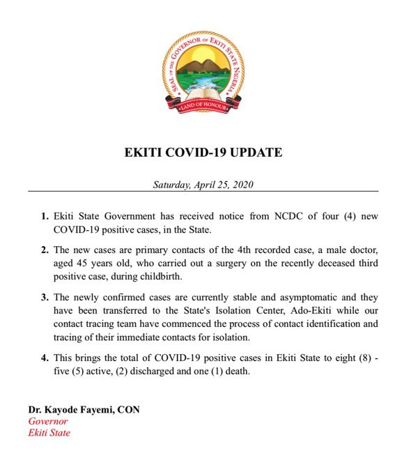 4 new cases of Coronavirus confirmed in Ekiti state