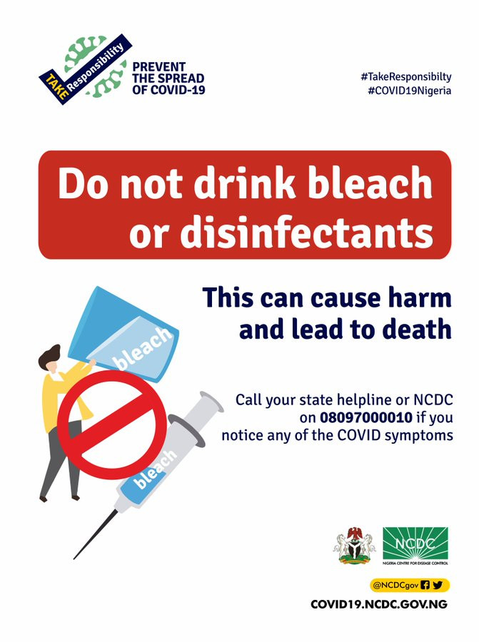 NCDC warns Nigerians against drinking bleach to treat COVID-19