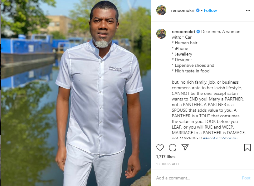 A lady with no commensurate source of income for her lavish lifestyle, can?t be the one except Satan wants to end you - Reno Omokri says! Lol