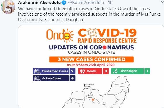 Suspected killer of Afenifere leader?s daughter tests positive for Coronavirus