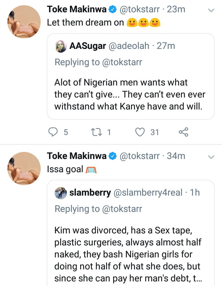 Toke Makinwa blasts Nigerian men who expect their women to stand by them as Kim stood by Kanye but won