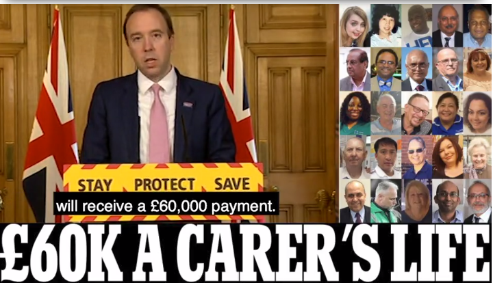 UK Govt to give ?60k life assurance payout to families of medics and care workers killed in Coronavirus line of duty?
