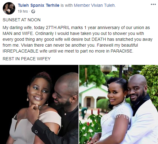 Nigerian man pays tribute to his late wife on their first wedding anniversary