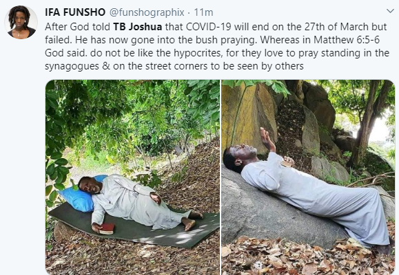 ''He is self-isolating'' Twitter users react to photos of Prophet TB Joshua praying on a mountain against COVID-19 64