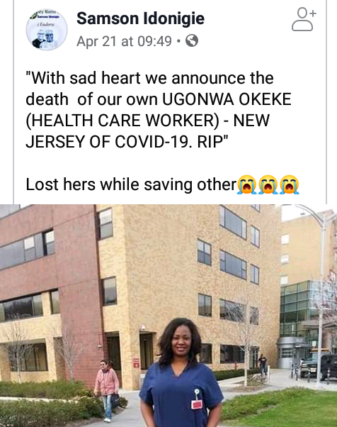 Nigerian healthcare worker dies of Coronavirus in the U.S
