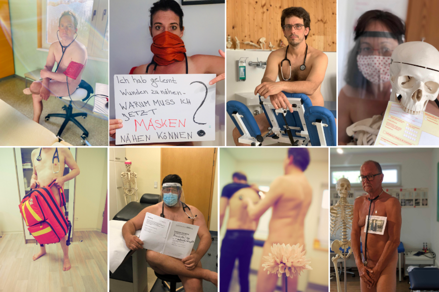 Doctors strip naked to protest lack of protective equipment (photos)