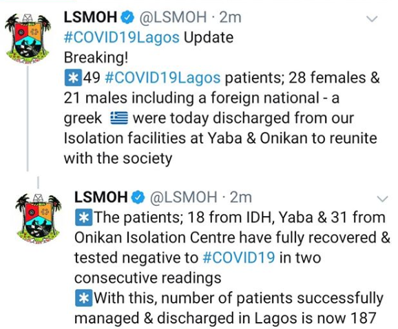 49 COVID-19 patients discharged in Lagos