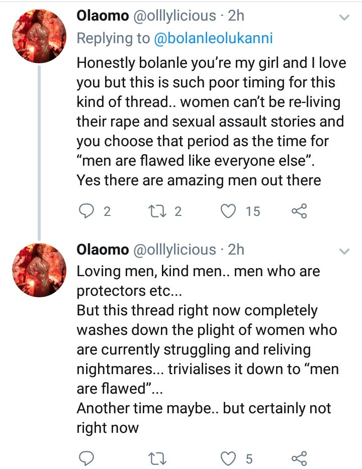 "Bolanle Olukanni explains why she will not entertain the thought that ""men are scum"""