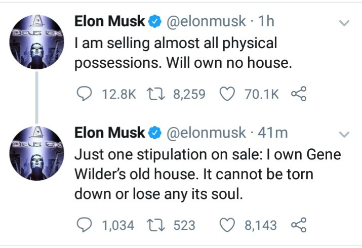 Billionaire Elon Musk reveals he's selling almost all his physical possessions and will own no house