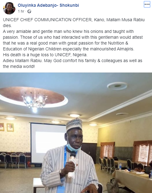 UNICEF Head of Communication in Kano dies; son says he showed symptoms of COVID-19