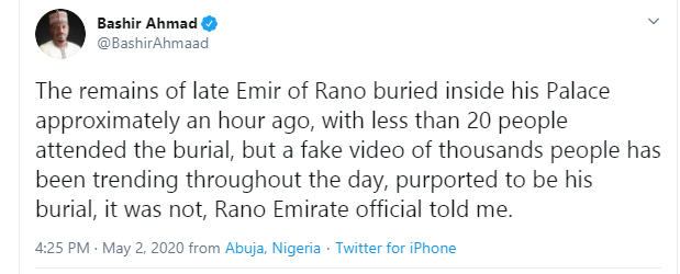 The burial ceremony of late Emir of Rano was attended by less than 20 people - Presidential aide, Bashir Ahmad counters viral video