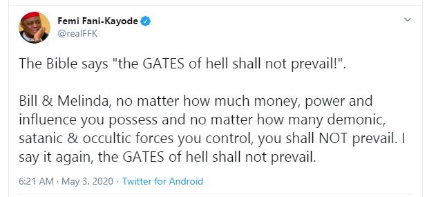 No matter how many demonic, satanic and occultic forces you control, you shall not prevail - FFK slams Bill and Melinda Gates