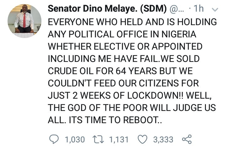 """Every political office holder, past and present, has failed, including me."" Dino Melaye says"