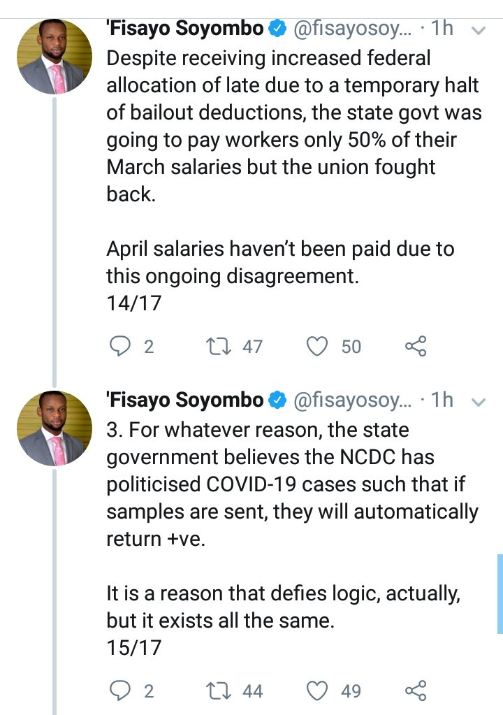 Journalist, Fisayo Soyombo accuses Kogi Government of covering up COVID-19 cases and deaths in the state as he narrates shocking incidents at FMC Lokoja