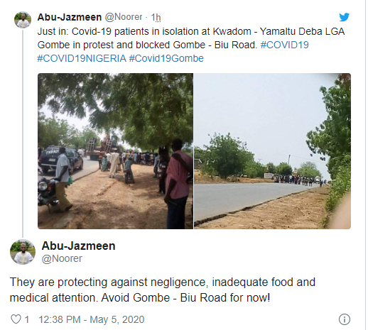 COVID-19 patients in Gombe stage protest over inadequate medical attention at state