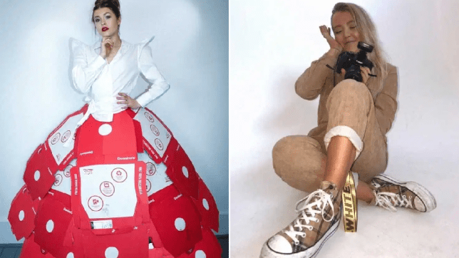 Yay or Nay? See the dresses this fashion student created out of used pizza boxes and Coronavirus symbol (photos)