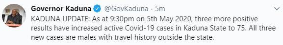 Three more COVID-19 cases recorded in Kaduna