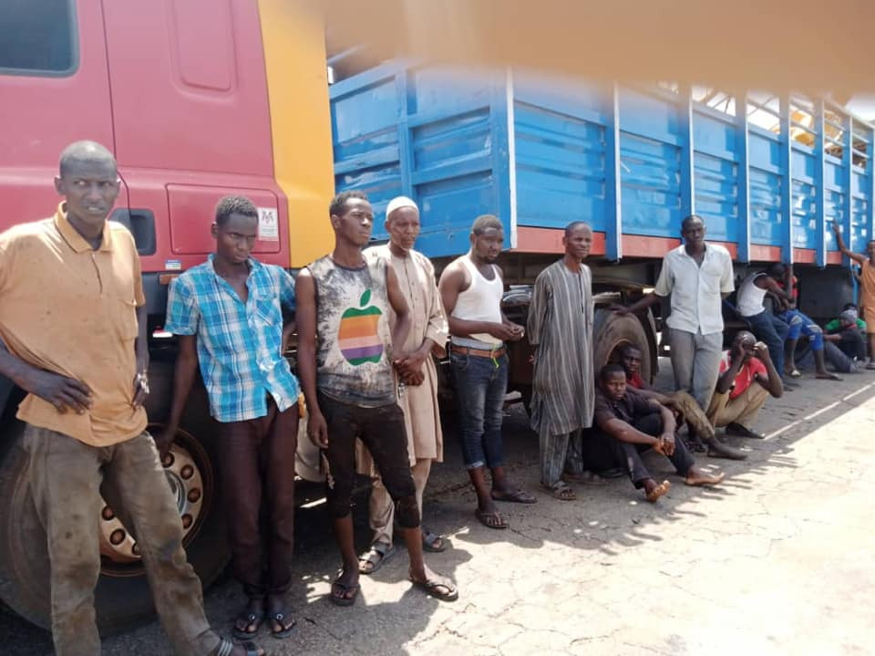 Northern youths hiding in a truck loaded with cows intercepted at Abia state