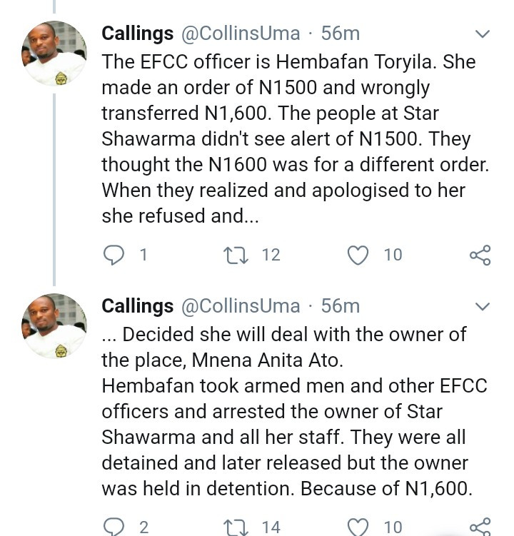 EFCC staff accused of abusing her position after she effected the arrest of owner of Star Shawarma over 1,600 Naira (video)