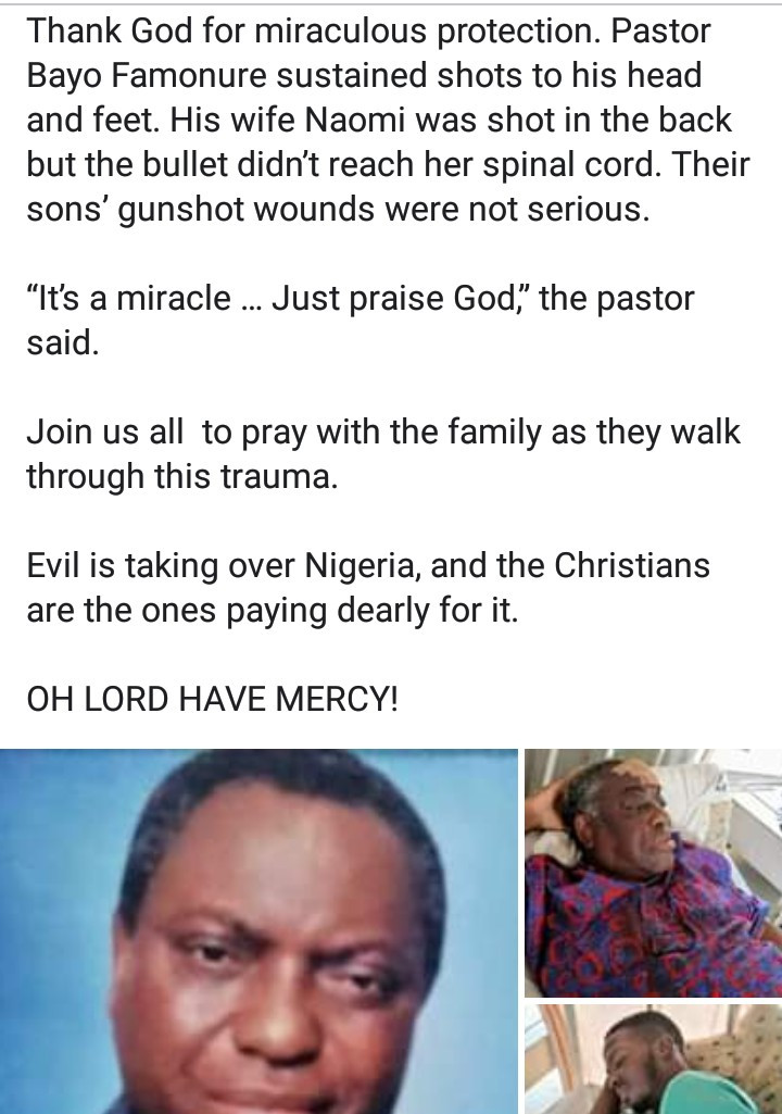 Photos of pastor and his family hospitalised after herdsmen attacked them during family prayers in Plateau