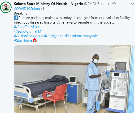 Two more COVID19 patients discharged in Sokoto