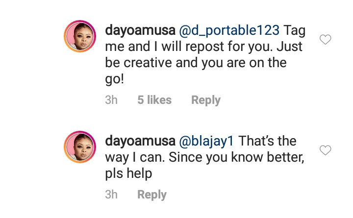 Dayo Amusa replies after she was called out for shaming an aspiring actress who reached out to her for professional help