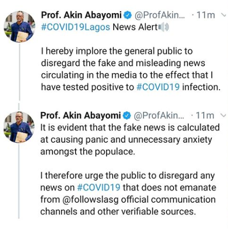 Lagos Commissioner for Health, Akin Abayomi, debunks reports claiming he has tested positive for COVID-19