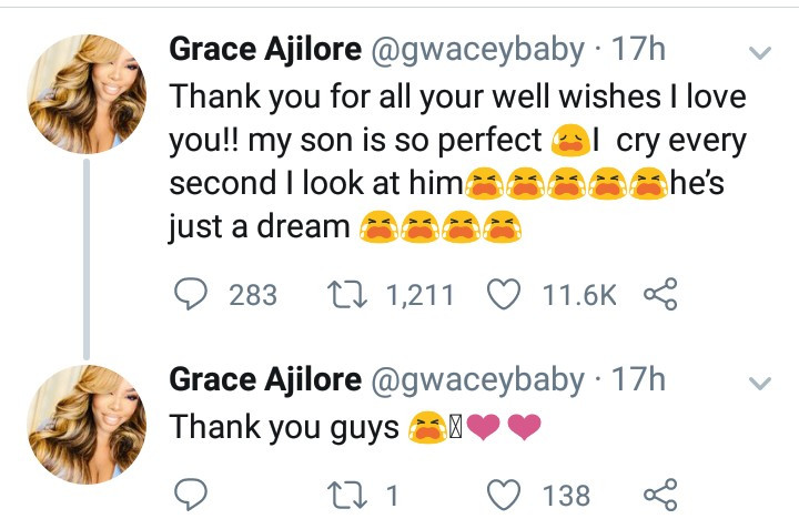 Vlogger Grace Ajilore welcomes a baby boy