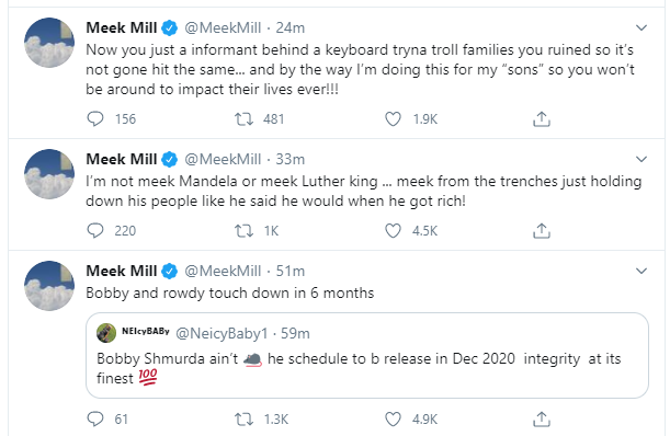 Meek Mill says Tekashi 6ix9ine should apologize for being a